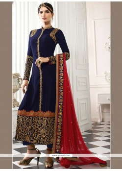 Entrancing Navy Blue Churidar Designer Suit