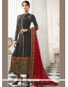 Exceeding Faux Georgette Grey And Red Embroidered Work Churidar Designer Suit