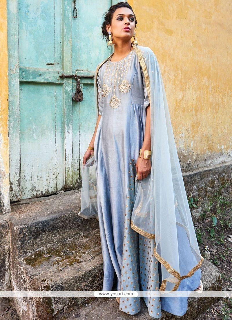 Splendid Sequins Work Art Dupion Silk Designer Suit