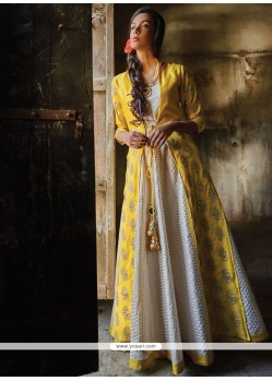 Invigorating Off White And Yellow Designer Suit
