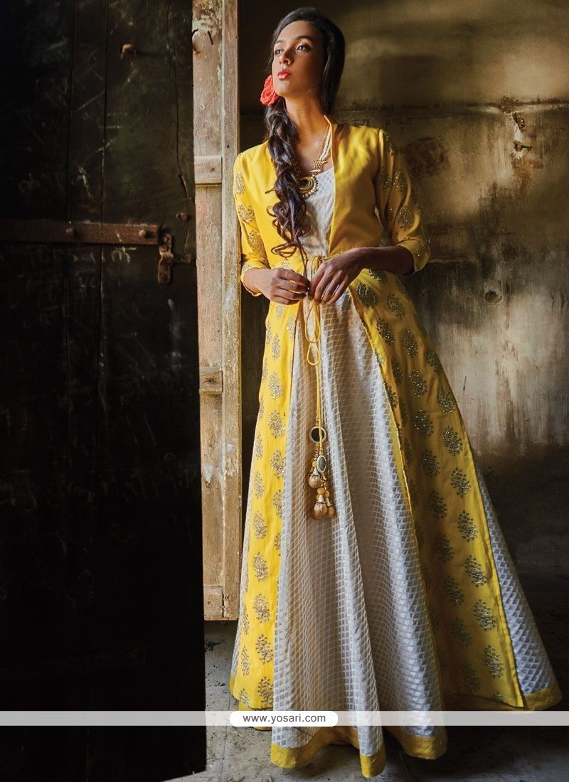 Invigorating Off White And Yellow Designer Suit