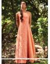 Modish Sequins Work Art Silk Peach Designer Suit