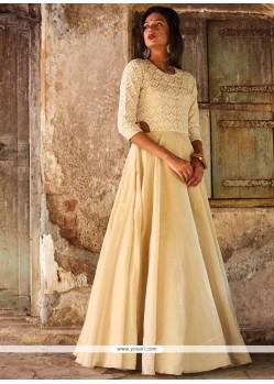 Winsome Beige Resham Work Art Silk Floor Length Anarkali Suit