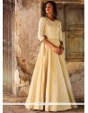 Winsome Beige Resham Work Art Silk Floor Length Anarkali Suit