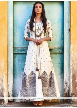 Entrancing Art Silk Resham Work Designer Suit