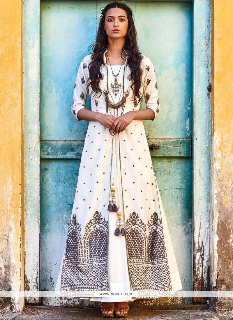Entrancing Art Silk Resham Work Designer Suit