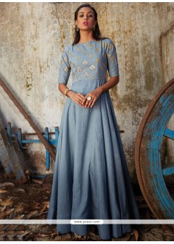 Intrinsic Art Silk Patch Border Work Floor Length Anarkali Suit