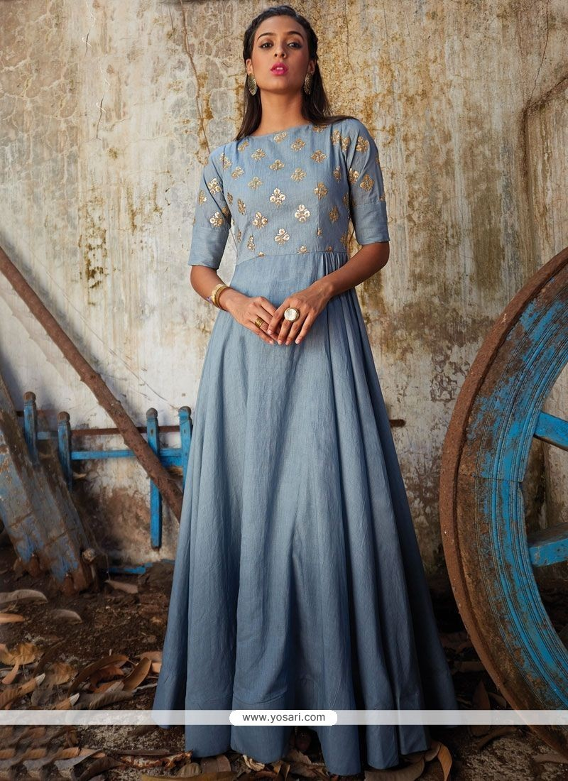 Intrinsic Art Silk Patch Border Work Floor Length Anarkali Suit