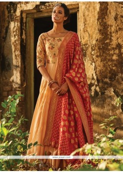Majestic Sequins Work Banarasi Silk Beige And Red Floor Length Anarkali Suit