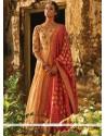 Majestic Sequins Work Banarasi Silk Beige And Red Floor Length Anarkali Suit