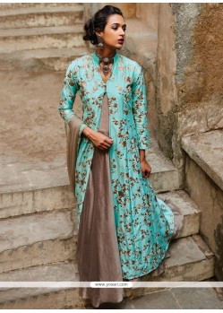Energetic Net Blue And Grey Designer Suit