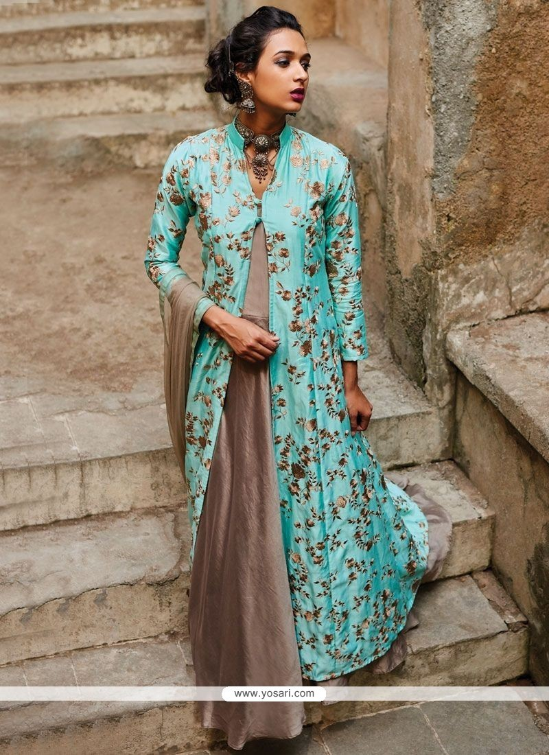 Buy Energetic Net Blue And Grey Designer Suit | Wedding Suits