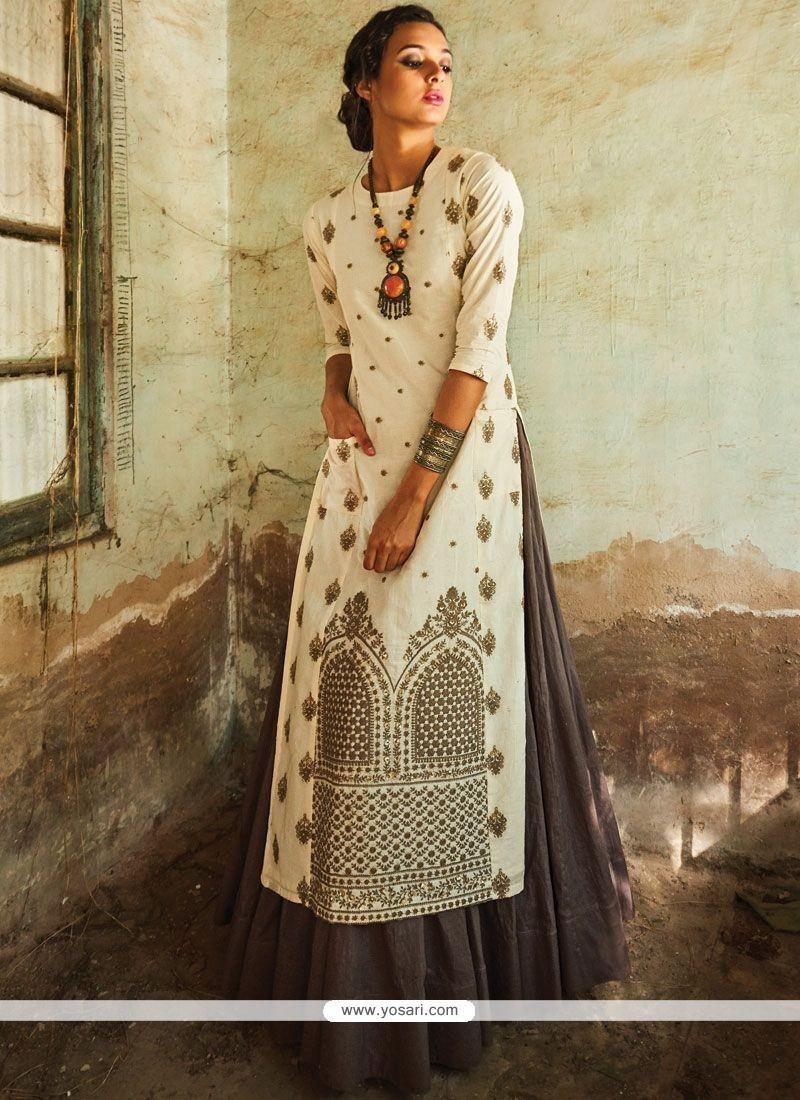 Lovable Grey And White Resham Work Art Silk Long Choli Lehenga