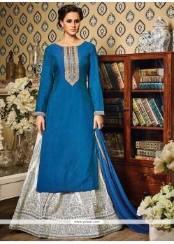 Dashing Print Work Blue Art Silk Long Choli Lehenga