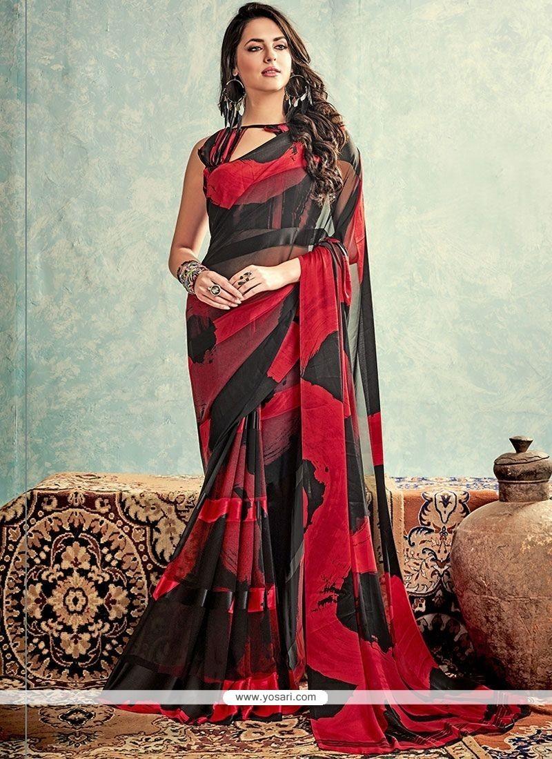 Artistic Weight Less Black And Red Printed Saree