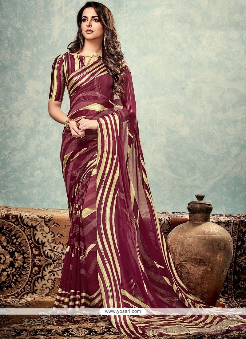 Modern Weight Less Wine Print Work Printed Saree