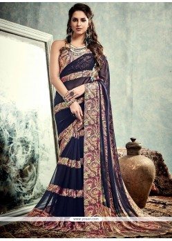 Precious Weight Less Navy Blue Printed Saree