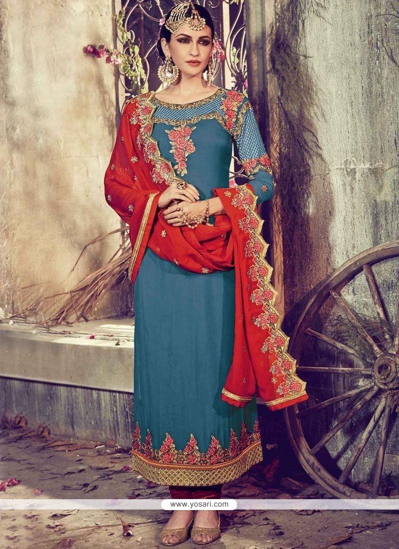 Fashionable Faux Georgette Blue Resham Work Churidar Designer Suit