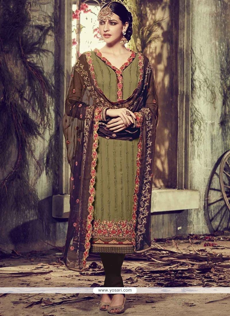 Intriguing Green Faux Georgette Churidar Designer Suit