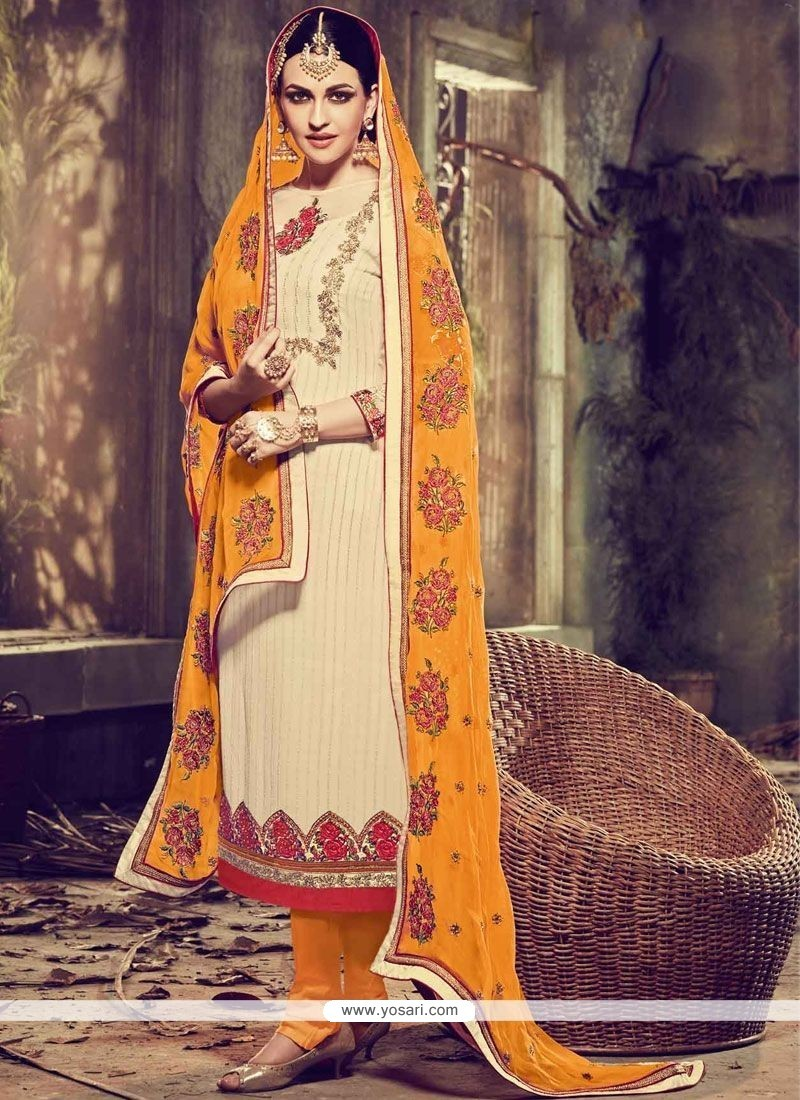 Incredible Faux Georgette Embroidered Work Churidar Designer Suit