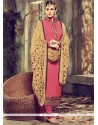 Genius Rose Pink Resham Work Faux Georgette Churidar Designer Suit