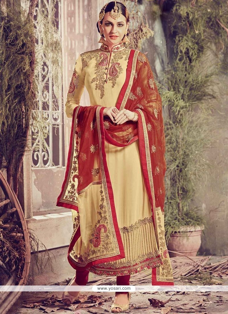 Exciting Beige Embroidered Work Churidar Designer Suit
