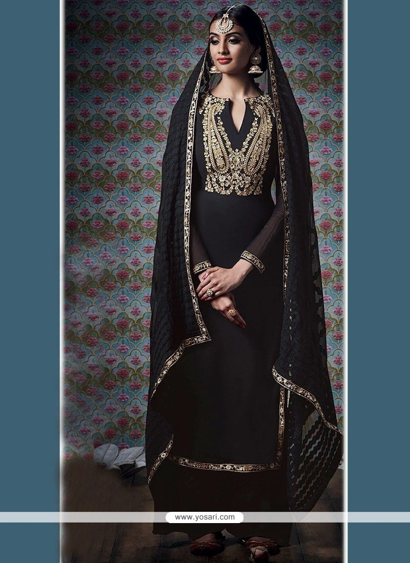 Lovable Embroidered Work Black Designer Palazzo Suit