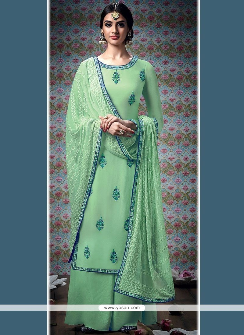 Gilded Sea Green Embroidered Work Faux Georgette Designer Palazzo Salwar Suit