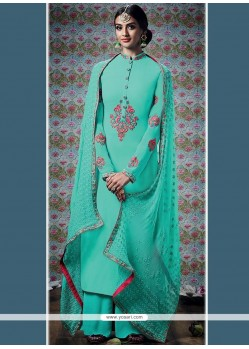Flamboyant Embroidered Work Faux Georgette Blue Designer Palazzo Suit