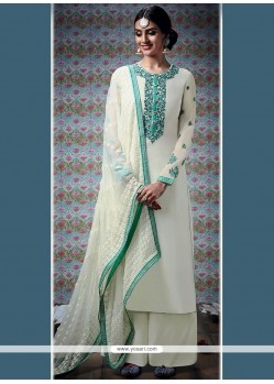 Elite White Faux Georgette Designer Palazzo Suit