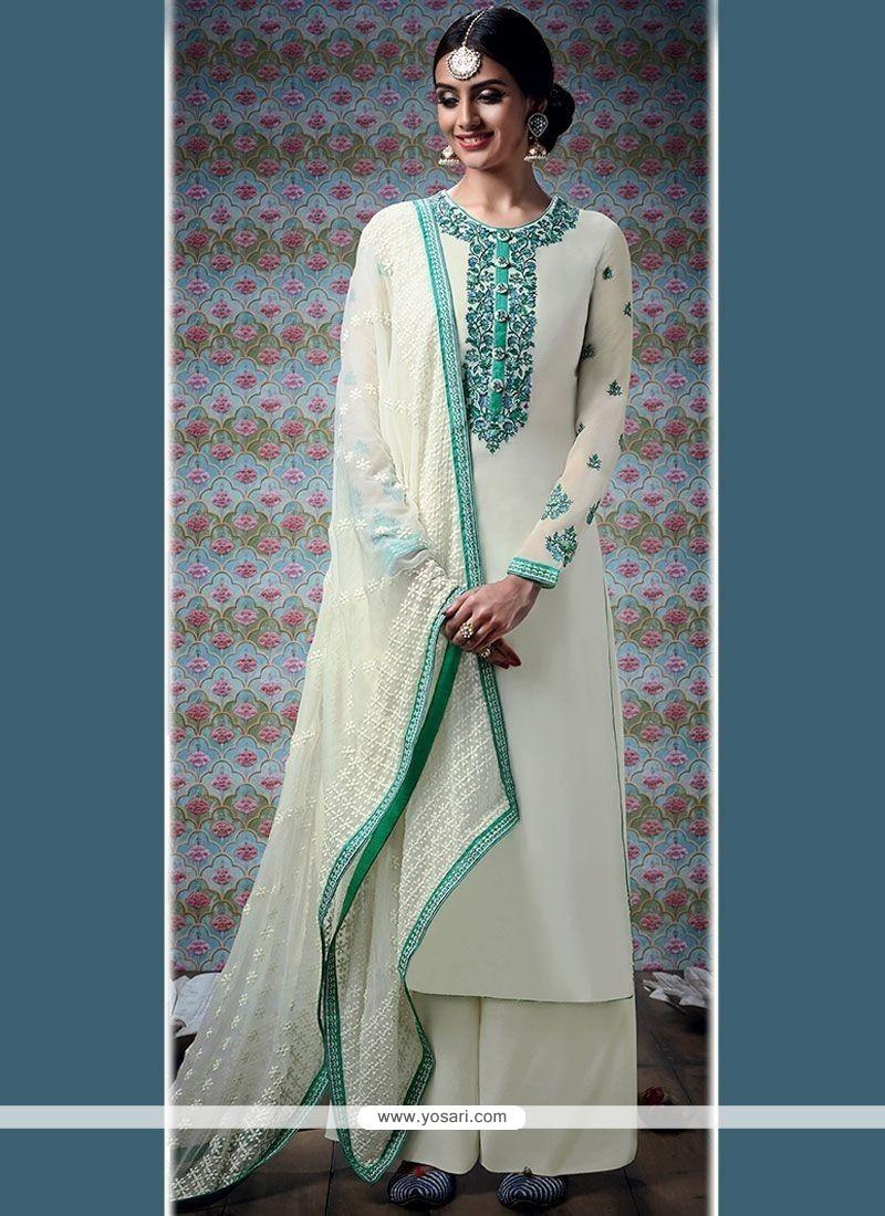 Elite White Faux Georgette Designer Palazzo Suit