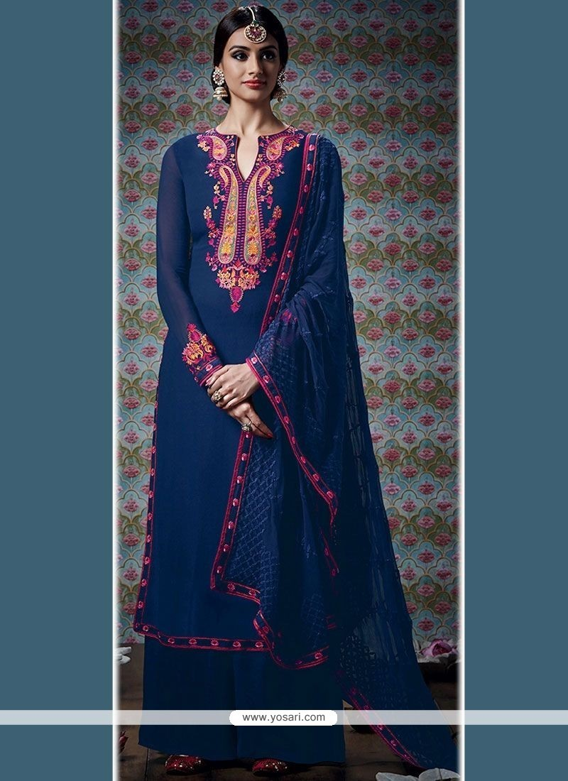 Piquant Embroidered Work Navy Blue Designer Palazzo Suit
