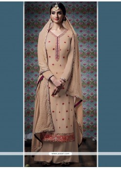Awesome Beige Embroidered Work Faux Georgette Designer Palazzo Suit