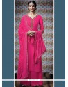 Ideal Faux Georgette Hot Pink Designer Palazzo Suit