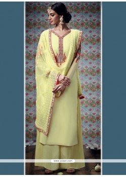 Exuberant Yellow Embroidered Work Designer Palazzo Suit
