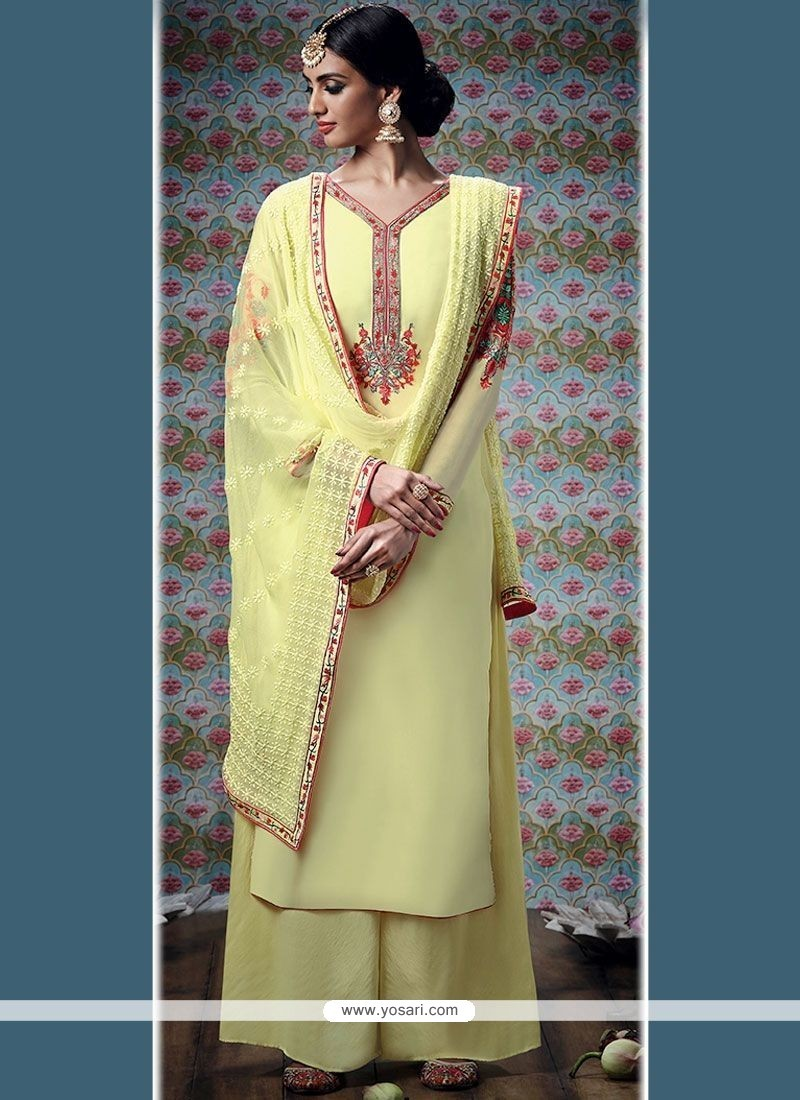 Exuberant Yellow Embroidered Work Designer Palazzo Suit