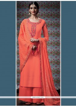 Mesmerizing Orange Embroidered Work Faux Georgette Designer Palazzo Suit