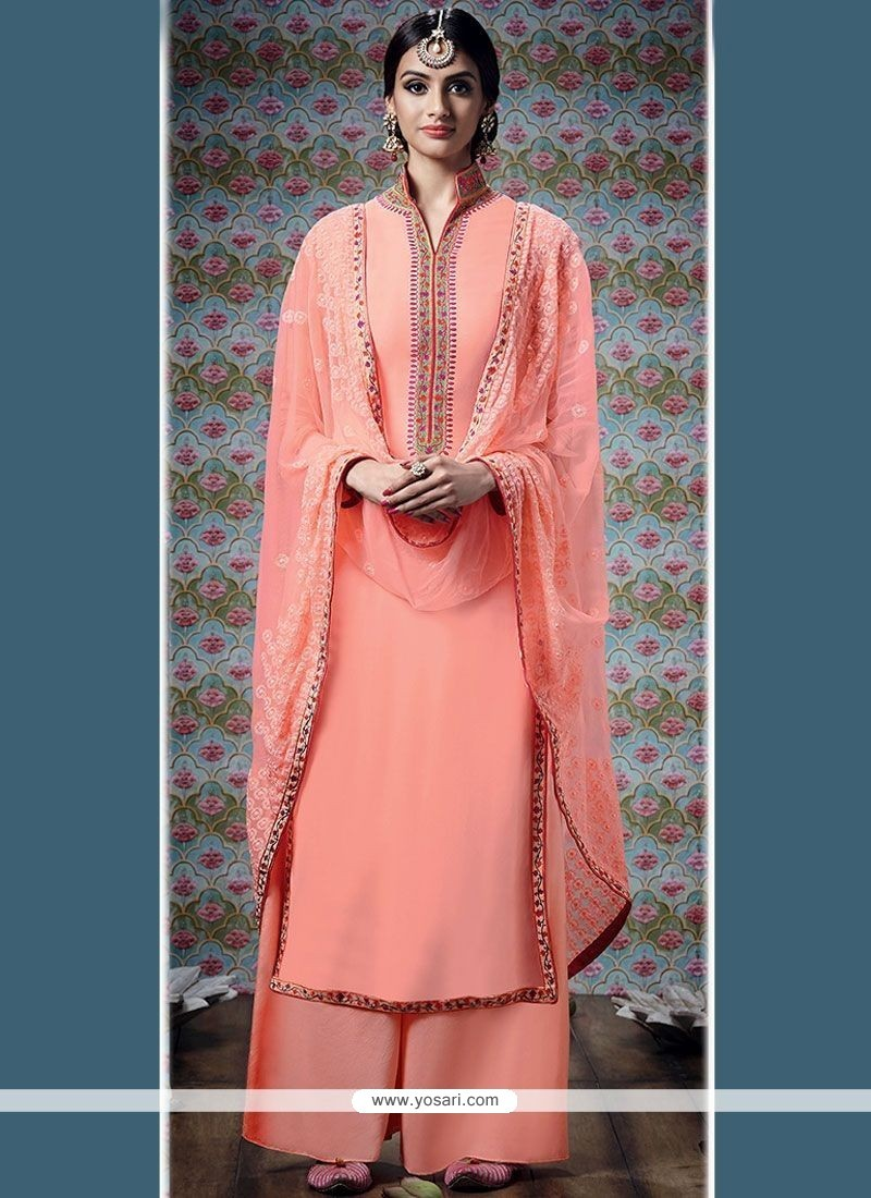 Precious Embroidered Work Peach Faux Georgette Designer Palazzo Suit