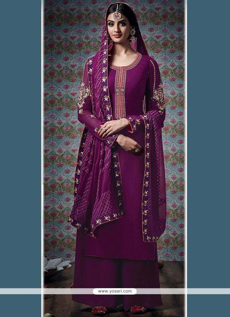 Impeccable Wine Embroidered Work Faux Georgette Designer Palazzo Suit
