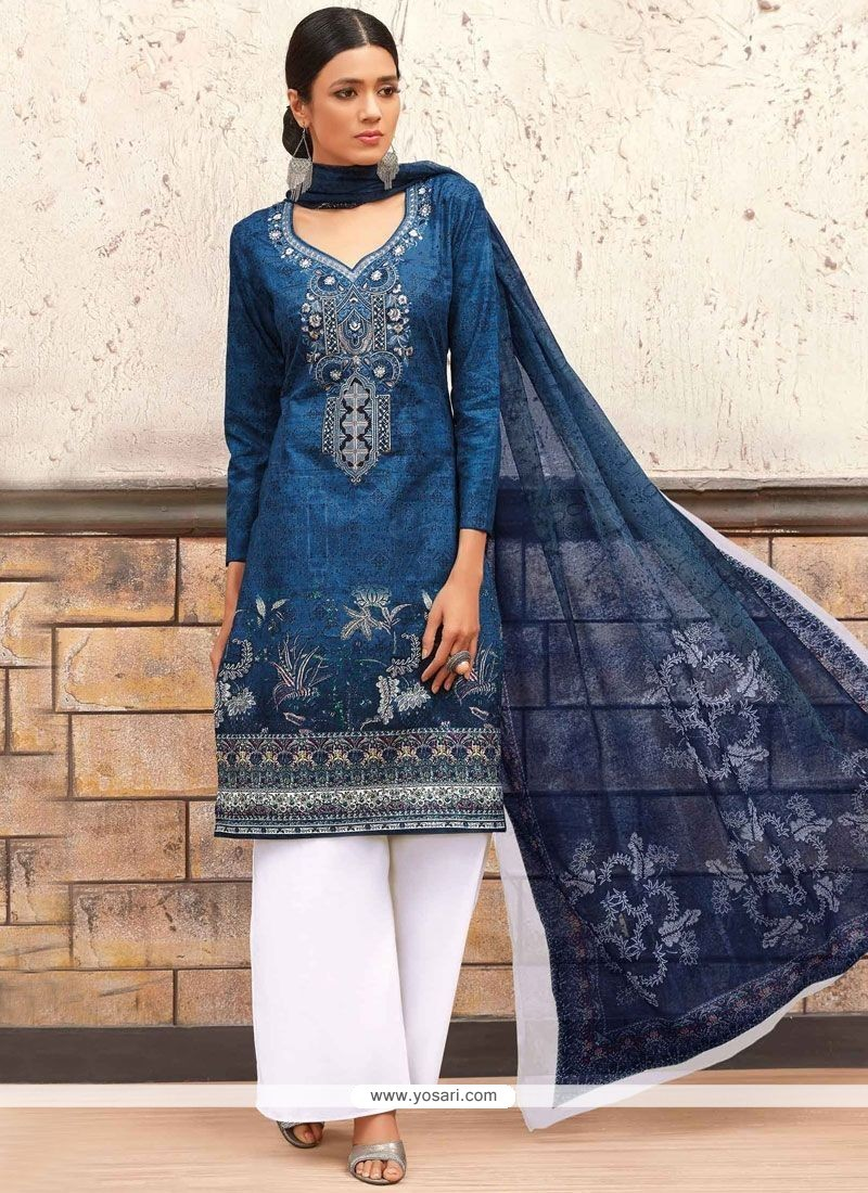 Energetic Cotton Navy Blue Print Work Designer Palazzo Suit