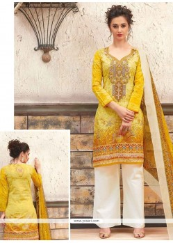 Exciting Yellow Print Work Cotton Designer Palazzo Suit