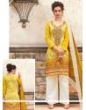 Exciting Yellow Print Work Cotton Designer Palazzo Suit