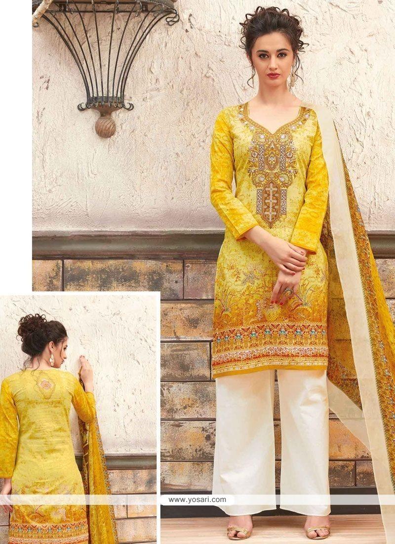 b361aa7f57 Buy Exciting Yellow Print Work Cotton Designer Palazzo Suit ...