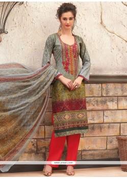 Enthralling Print Work Cotton Palazzo Designer Salwar Kameez