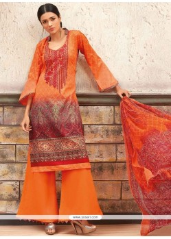Ethnic Print Work Multi Colour Cotton Palazzo Designer Salwar Kameez