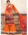Ethnic Print Work Multi Colour Cotton Palazzo Designer Salwar Kameez