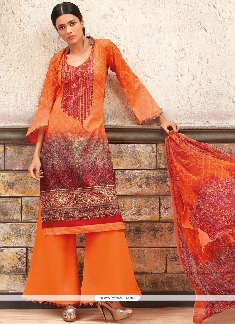 d090768c5db Buy Ethnic Print Work Multi Colour Cotton Palazzo Designer Salwar ...