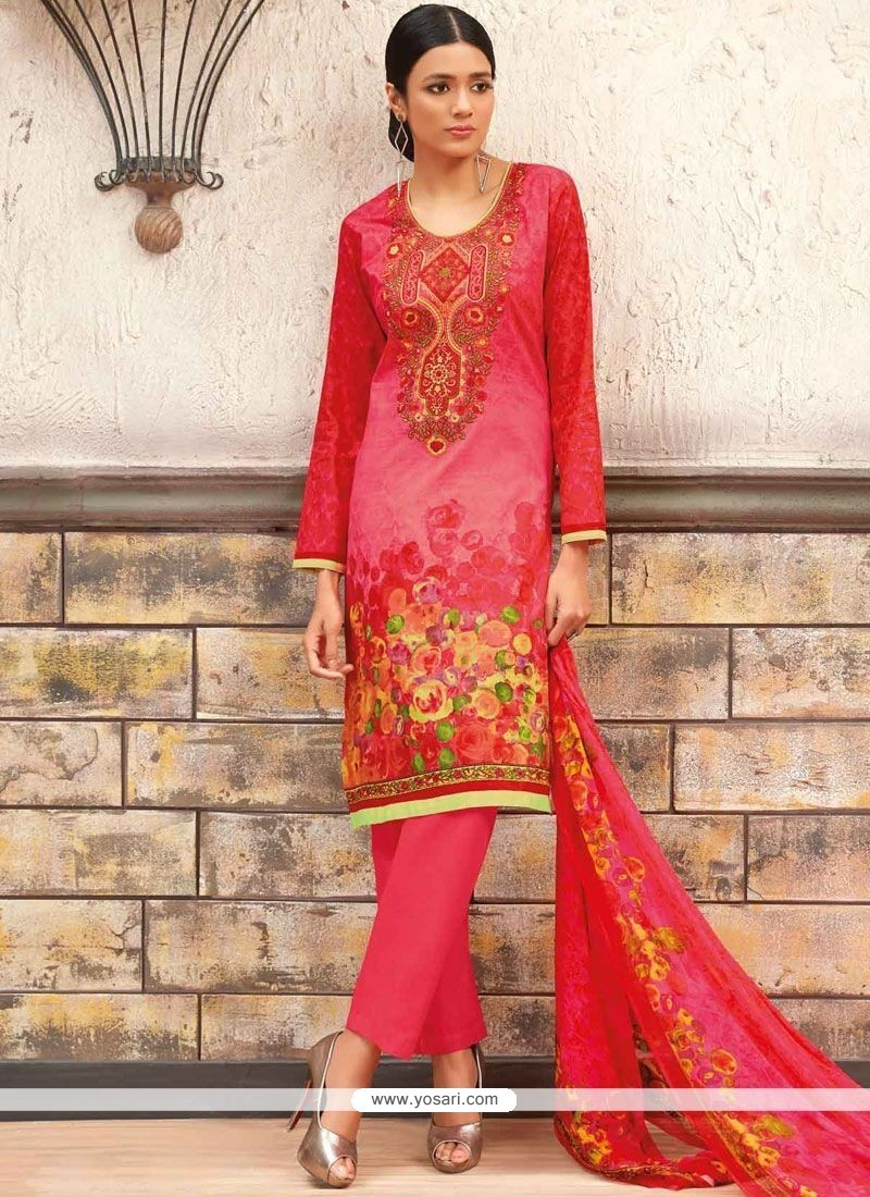 dca42f66916 Buy Mesmeric Multi Colour Print Work Cotton Designer Palazzo Suit ...