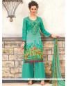 Capricious Print Work Cotton Designer Palazzo Suit
