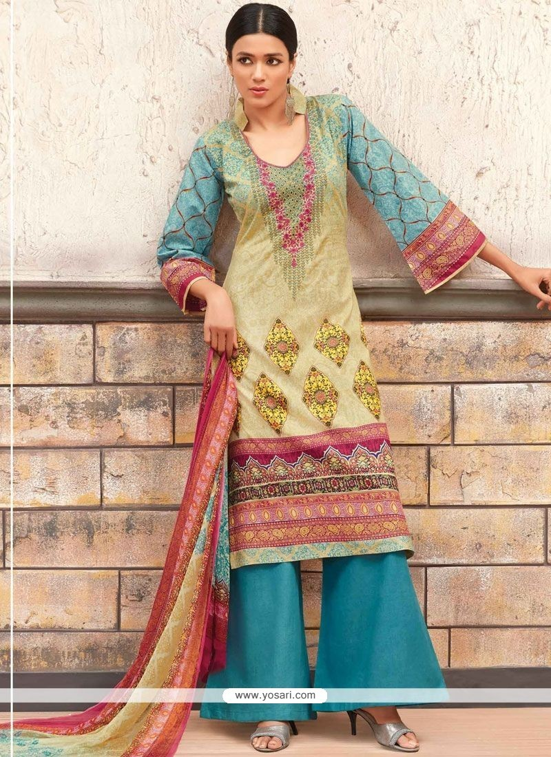 Sterling Cotton Multi Colour Designer Palazzo Suit